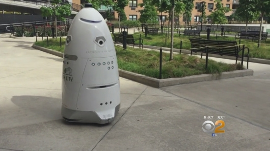 Rosie the robot on patrol in the Lefrak City Apartments in Queens